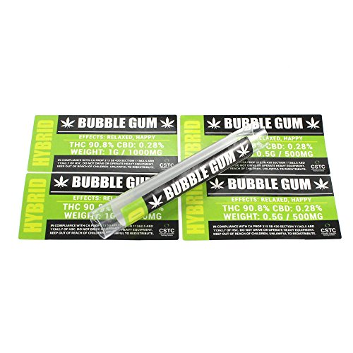 Bubble Gum Medical Dispensary Strain by Shatter Labels 0.50G & 1.0G Jar & Tube Stickers TS-024 (25 x 1.0G)