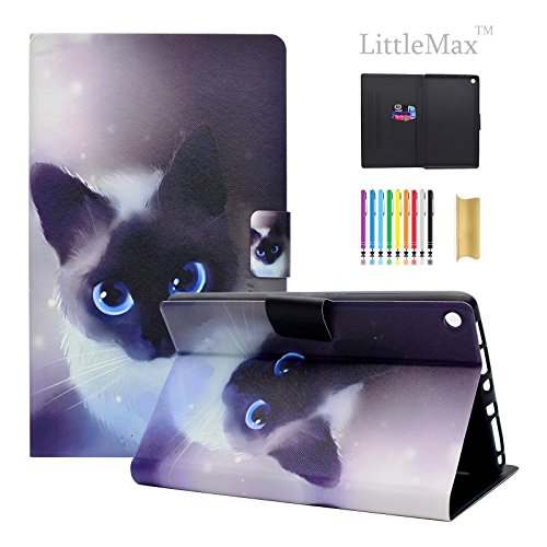 HD 8 Case - LittleMax(TM) [Cards Holder] Ultra Slim Lightweight Thin PU Leather Stand Flip Case Cover with Auto Sleep/Wake for Amazon Kindle Fire HD 8'' 6th & 7th Generation -#1 Little Cat by LittleMax
