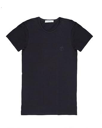 Versace Collection Mens Black Cotton Crew Neck Medusa Undershirt T Shirt Viogco1 by Versace
