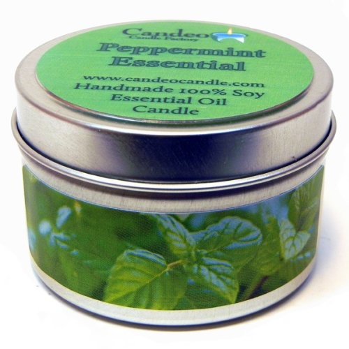Peppermint Essential Oil 4oz, Super Scented Soy Candle Tin