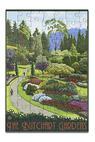 Butchart Gardens Framed (Brentwood Bay, Canada - Butchart Gardens (8x12 Premium Acrylic Puzzle, 63 Pieces))