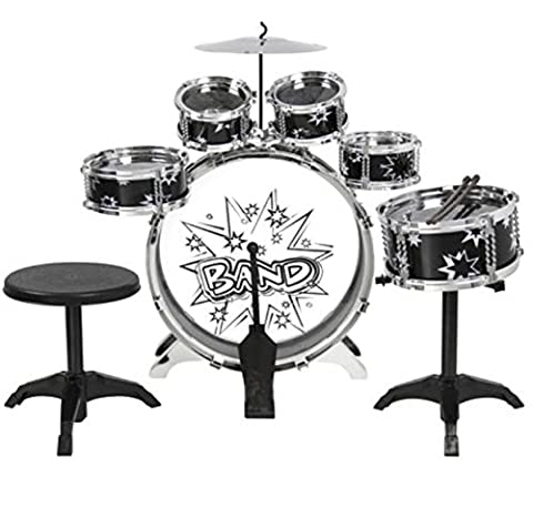 Kids Drum Set Kit Toy with Cymbals Pad Stand Throne Black Silver - Drum Kit Microphone System