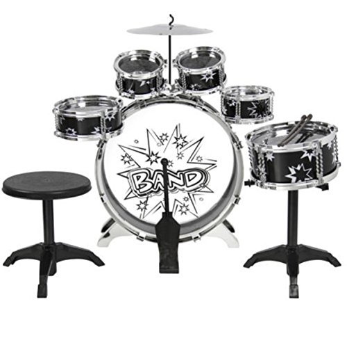 Kids Drum Set Kit Toy with Cymbals Pad Stand Throne Black Silver (Dw Congas)