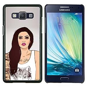 """Be-Star Único Patrón Plástico Duro Fundas Cover Cubre Hard Case Cover Para Samsung Galaxy A5 / SM-A500 ( Labios de la mujer de la muchacha del arte del lobo de la tinta del tatuaje de color rosa"""" )"""