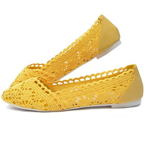 Vain Secrets Damen Slipper Schuhe IM Ballerina Design Geflochten in Vielen Farben Gelb