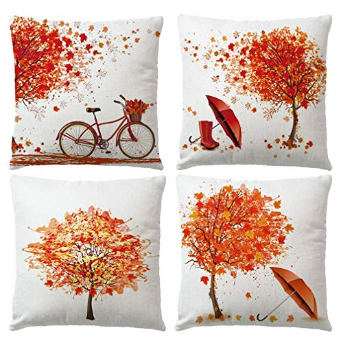 ULOVE LOVE YOURSELF 4Pack Decorative Autumn Fall Throw Pillow Cover Maple Leaf Bicycle Tree Umbrella Cushion Case Shell Happy Fall Pillow Case for Car Sofa Bed Couch 18 x 18 Inches