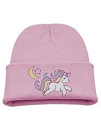 Boys&Girls Winter Ski Cap Moon Unicorn Fashion Print Child Watch Hat