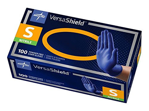 Medline VersaShield Nitrile Exam Gloves, Extra Thick 5.5 mil, Disposable, Powder-Free, Cobalt Blue, Small, Box of 100 (Box Cobalt)