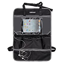 Car Seat Back Organizer with Tablet Holder - Touch Screen Backseat Protector Kick Mat for Kids Baby , with Multi Pockets, Drink Holder , fits iPad