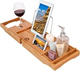 romatlink Bamboo Caddy-Luxury Wooden Shower Bath Tub Organizer, Stainless Steel BookTablet Holder, Removable TowelAccessories Tray, Standard Wood, Natural