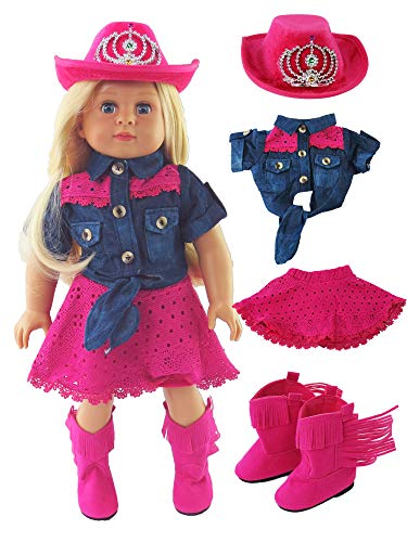 Pink Cowgirl 4 PC Outfit | 18 inch American Girl Doll Clothes