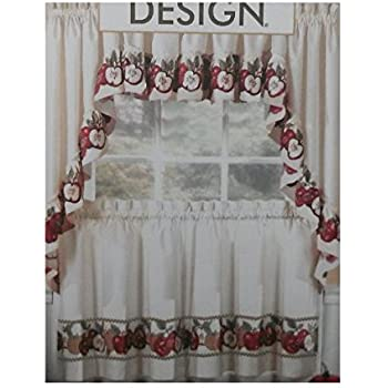 Amazon.com: 3pc Kitchen Cafe Apple Curtain Tier Swag Set Window ...