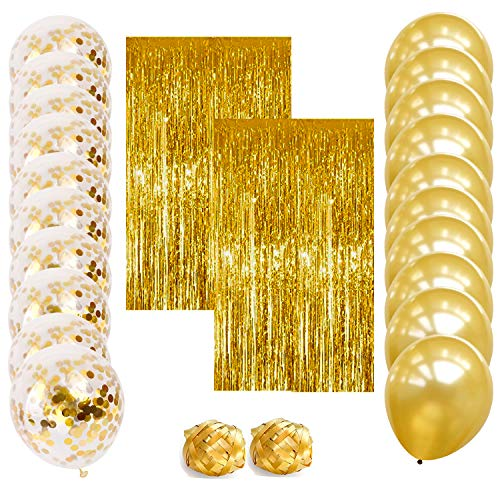 Pre-filled Gold Confetti Balloons with Beautiful Gold Fringe Curtain Backdrop | Perfect Party Decorations for All Occasions including Birthdays, Weddings, Thanksgiving, New Years Eve (24 Count)