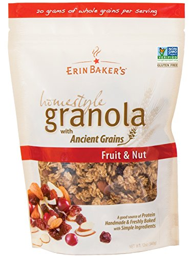 Erin Baker's Homestyle Granola, Fruit & Nut, Gluten-Free, Ancient Grains, Vegan, Non-GMO, Cereal, 12-ounce bags (Pack of (Nut Free Granola)