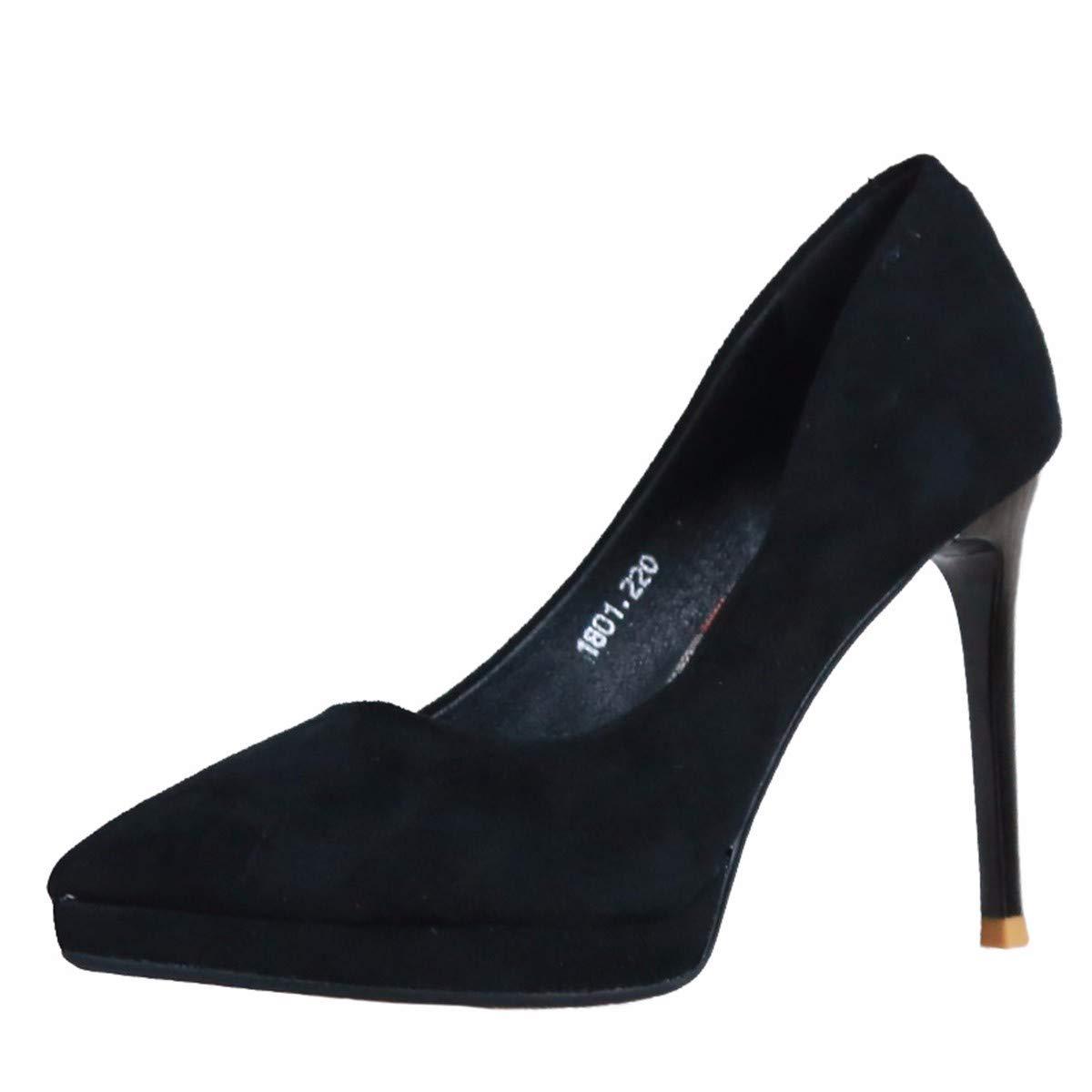 KPHY Damenschuhe Im Herbst Sexy Damenschuhen Spitze Dünn und 10Cm Hochhackige Schuhe Einfache Flache Wildleder Einzelne Schuhe.37 des