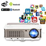 Wireless Projector Wifi Bluetooth 2600 Lumens (2017 Updated), Portable Video LED Projector 1080p Support, Digital Home Theater Cinema Projector Indoor Outdoor Movie Game with HDMI USB Audio AV Ports