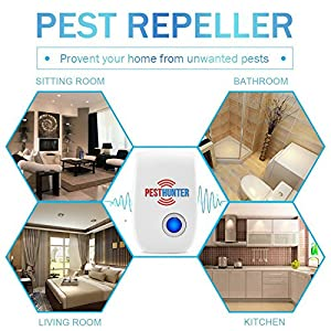 Ultrasonic Pest Repeller - 4 Eco Pack - Electronic Control - Repel Mouse, Bed Bugs, Mosquitoes, Spiders, Roaches