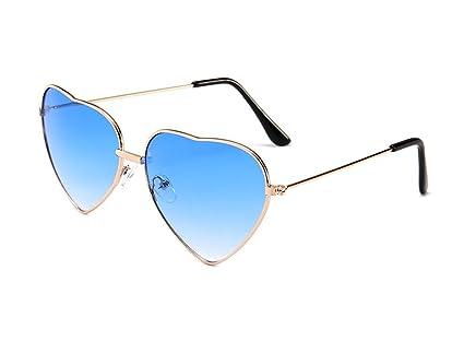 Hustar Womens Heart Shaped Colored Lens Sunglasses Retro Summer Eyeglasses for Traveling