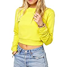 Inlscp Women's Long Sleeve Street Style Casual Crop Tops in Regular Fit Yellow