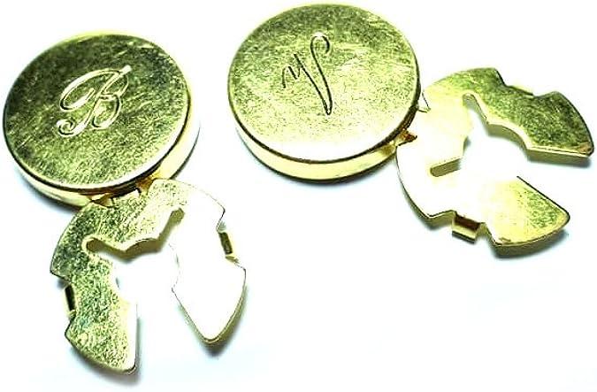 artigianale 1 par de cubrebotones de 18 mm, personalizados, 1 inicial para cubrir botones, elegir color dorado, plateado ETC, cubrebotones para camisa ...