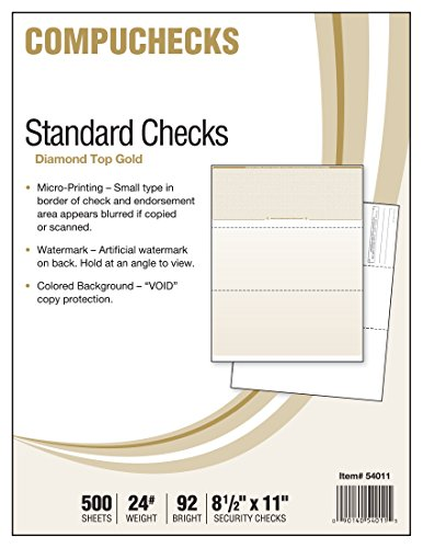Middle Business Check - Business Voucher Check Stock - Versacheck Refills - 500 Sheets, Check on Top, Gold Diamond