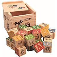 VNC Wooden ABC Blocks, 27 PCS Engraved Baby Alphabet Letters Numbers Cubes, Toddlers Early Educational Toys Counting 123 Building Blocks Set with Box Storage Case, (27 Pieces)