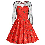 Merry Christmas - Franterd Women Vintage Dress Xmas Print Mesh Patchwork Swing Dresses
