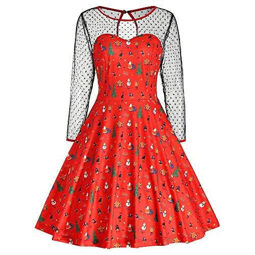 HANANei Christmas Dress Women Elk Printing Mesh Patchwork Long Sleeve Party Swing Vintage Dress (XL) ()