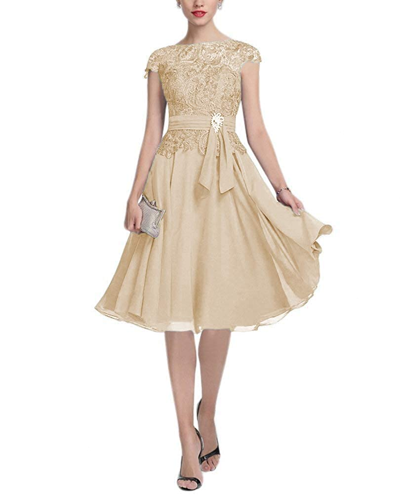 tutu.vivi Womens Lace Chiffon Mother of The Bride Dress Cap Sleeves Short Prom Dress
