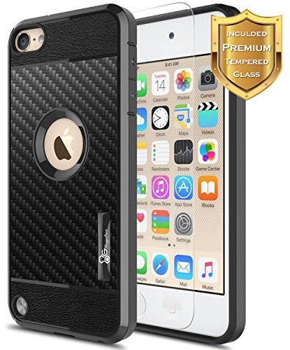 iPod Touch 5/6 / 7 Case, iPod Touch 5th / 6th / 7th Generation Case w/[Tempered Glass Screen Protector], NageBee Frost Clear [Carbon Fiber] Lightweight Ultra Slim Soft TPU Cover Case -Black