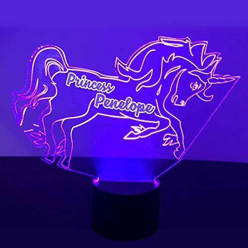 (Unicorn Night Light Lamp - Personalized Name Free Kids Room LED Night Lamp Gift)