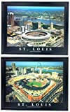 Framed St. Louis Cardinals - Busch Stadium Old and New Aerial Photograph Prints (Set of 2)