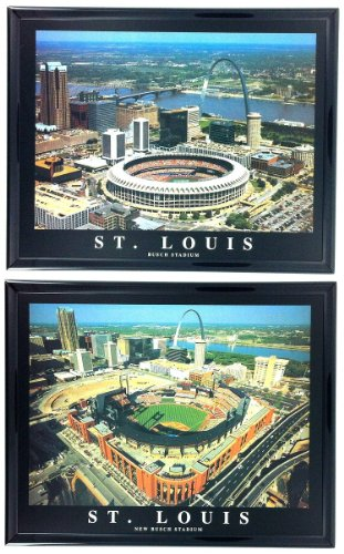 Framed St. Louis Cardinals - Busch Stadium Old and New Aerial Photograph Prints (Set of ()