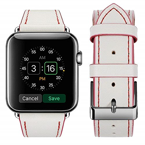 top4cus Genuine Leather iwatch Strap Replacement Band Stainless Metal Clasp, Compatible for 38mm 42mm Apple Watch Series3 S2 S1 and Sport Editionm(38mm/40mm, Sporty White)