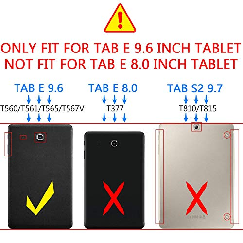 PEYOU Compatible for Tab E 9 6 Case, Slim Smart Folio Stand Case Cover  Compatible for Samsung Galaxy Tab E/Tab E Nook 9 6 inch Tablet