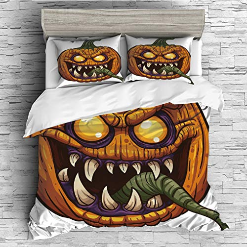3 Pieces (1 Duvet Cover 2 Pillow Shams)/All Seasons/Home Comforter Bedding Sets Duvet Cover Sets for Adult Kids/Singe/Halloween,Scary Pumpkin Monster Evil Character with Fangs Aggressive Cartoon,Purpl ()