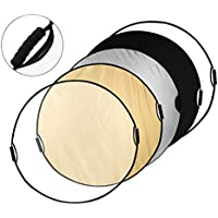 Powerextra 43/110cm 5-in-1 Handle Collapsible Light Reflector Light Diffuser with Grips and Protecting Bag for Studio or Outdoor Photography Lighting Modifying