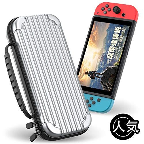 [닌텐도 스위치]  케이스 하드 파우치 수납 가방 내충격 방진 초박형 전면 보호 (게임 카드 10 매 수납)  (실버)