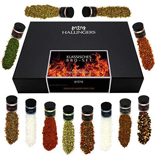 Hallingers 12er BBQ-Geschenk-Set, Gewürze aus aller Welt (185g) – Klassisches BBQ-Set (Set) – Passt immer 2021, Grillen