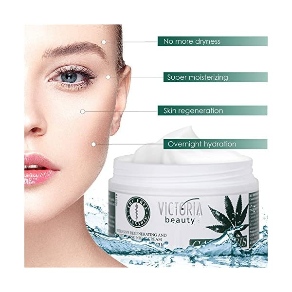 Cannabis Extract Night Face Cream – Natural Intensive Cream with Hemp Oil for Deep Nourishment – Super Moisturiser for Sensitive Skin – 50 ml