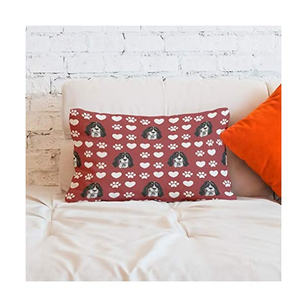 Style In Print Personalized Pillow Case Ariegeois Dog Red Paw Heart Polyester Pillow Cover 20INx28IN Design Only Set of 2 6