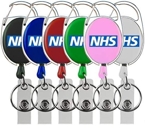 Rolseley NHS Ausweishalter mit NHS Logo + Karabiner Gürtelclip und Schlüsselring 1 Pink