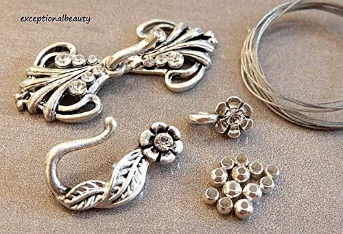 2 Silver Beading Bead Clasps Filigree Flower featuring Swarovski Crystals