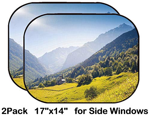Liili Car Sun Shade for Side Rear Window Blocks UV Ray Sunlight Heat - Protect Baby and Pet - 2 Pack Beautiful View of Alpine Meadows in The Village Zhabeshi Upper Svaneti Georgia EUR