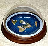 PiggiesC Flat Earth Map Dome Display Model - Mahogany Wood Base, Plastic Dome, Flat World