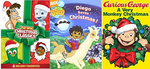 Curious George: A Very Monkey Christmas & Go Diego Go! - Diego Saves Christmas! DVD + Gumby Seasons Greetings / Casper / Fat Albert Special / George of the Jungle Jungle Bells Holiday Cartoon Classics