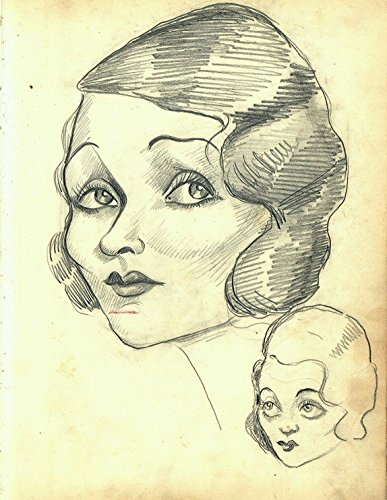 Vintage 1920s or 1930s Era Vincent Zito Caricature of Unknown Female Celebrity