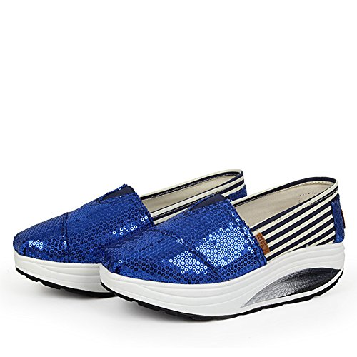 Jamron Women Stylish Paillette Canvas Creepers Sneakers Lightweight Fitness Walking Shoes Royal Blue AHvW9mPyvY