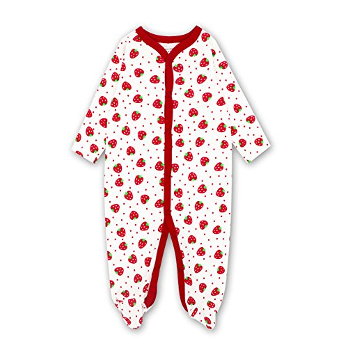 Quoxiao Baby Girl Pajamas, Long Sleeve Soft Cotton Footed Pajamas For Girls Boys Toddler Jumpsuit Strawberry 10-12 Month