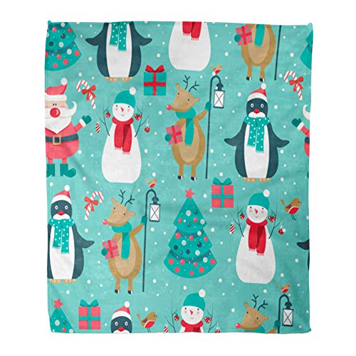 Emvency Throw Blanket Warm Cozy Print Flannel Cartoon Christmas Santa Deer Bird Penguin Tree and Snowman Holiday Comfortable Soft for Bed Sofa and Couch 50x60 -